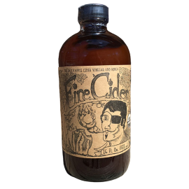 Fire Cider - Apple Cider Vinegar and Honey Tonic - 16 ounce - in amber bottle