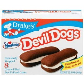 Devil Dogs - Drake's by Hostess 8 Individually Wrapped Creme Filled Devils Food Cakes