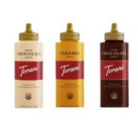 Torani Sauce 3 Pack Chocolate, Caramel, White Chocolate 16.5 Oz