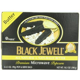 Black Jewell Popcorn, Microwavable,Butter; Three 3.5-Ounce bags